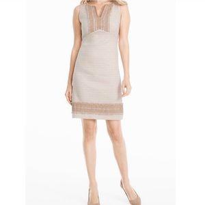 White House Black Market Neutral Tweed Dress Sz 0